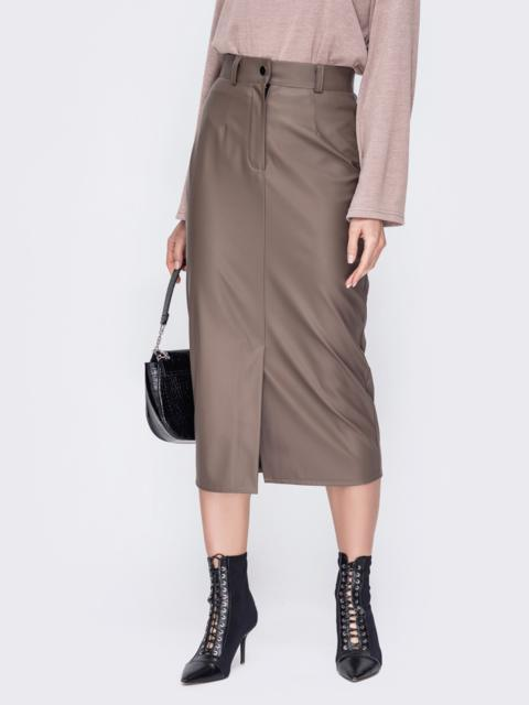 Бежевая юбка-карандаш из эко-кожи 52677, фото 1