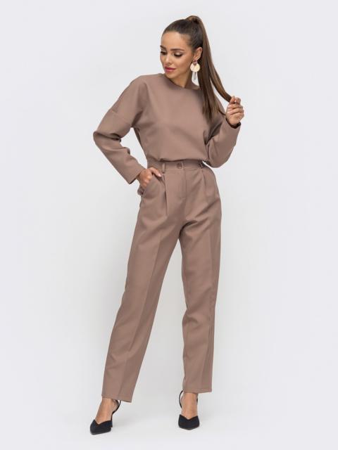 Брючный комплект со свободной блузкой бежевый 50661, фото 1