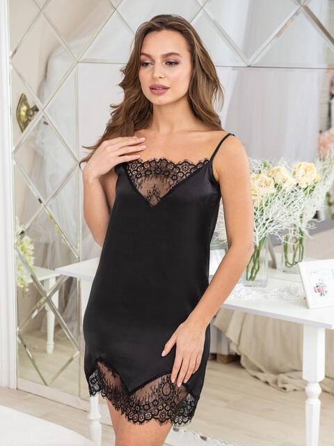Чёрная сорочка с кружевом на полочке и по низу - 20481, фото 1 – интернет-магазин Dressa