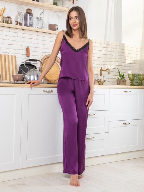 Фиолетовая пижама из топа с кружевом и штанов - 20480, фото 1 – интернет-магазин Dressa