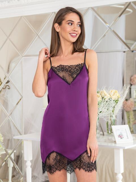 Фиолетовая сорочка с кружевом на полочке и по низу - 20472, фото 1 – интернет-магазин Dressa