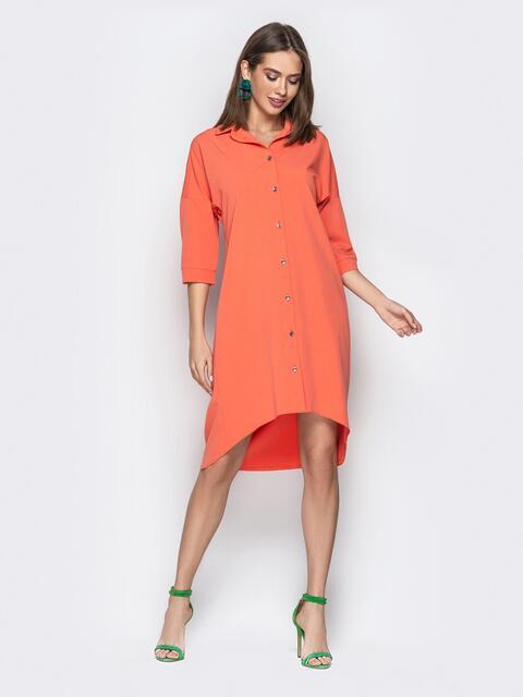 Персиковое платье-рубашка с удлиненной спинкой - 20611, фото 1 – интернет-магазин Dressa