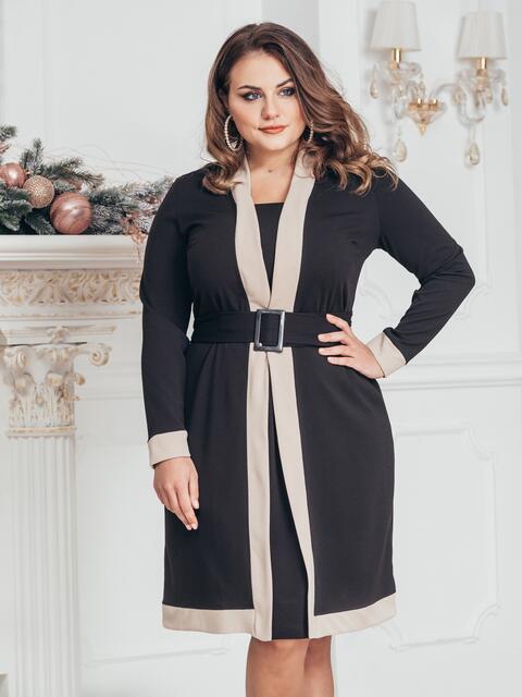 Платье баитал с контрастной окантовкой чёрное - 43819, фото 1 – интернет-магазин Dressa