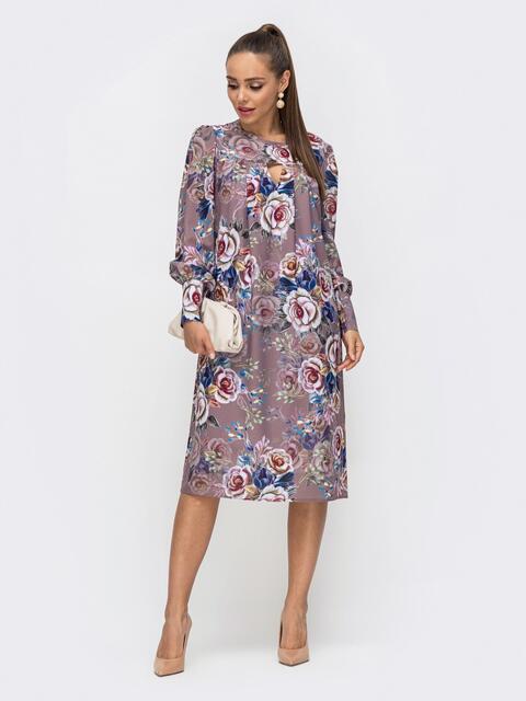 Платье из креп-шифона с принтом и фигурным вырезом бежевое 50655, фото 1