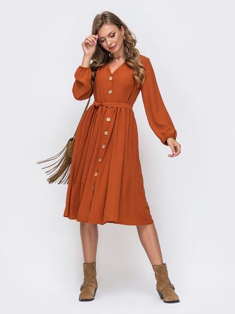 Платье-миди терракотового цвета на пуговицах по всей длине 50364, фото 1