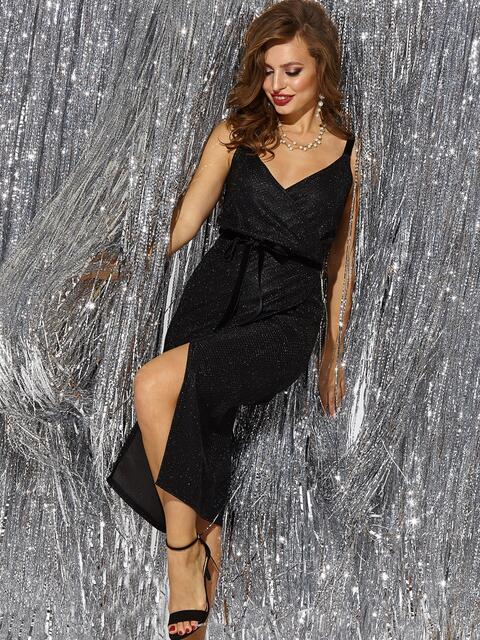 Платье на запах из люрекса с бархатными бретелями чёрное - 42684, фото 1 – интернет-магазин Dressa