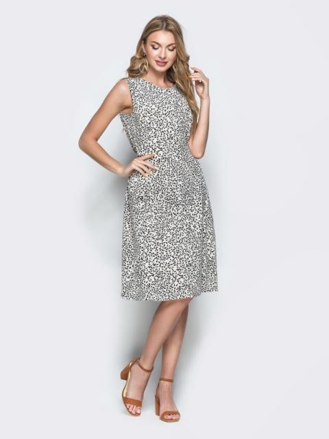Приталенное платье-миди из софта с принтом белое 38682, фото 1