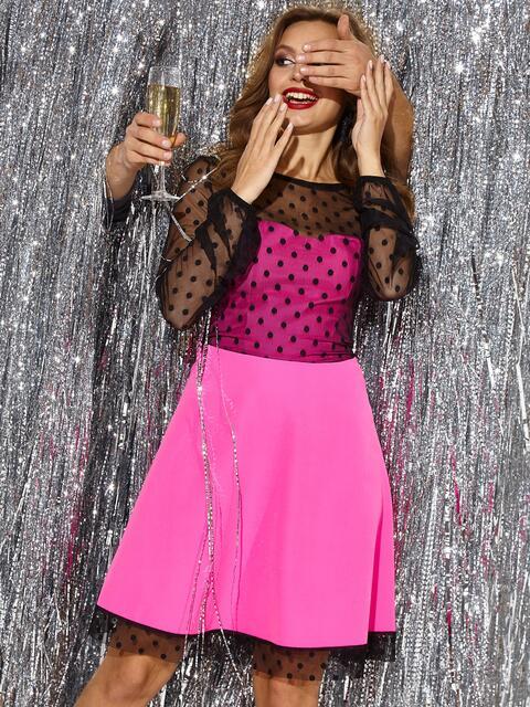 Розовое платье с расклешенной юбкой и фатиновыми вставками 42680, фото 1