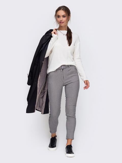 Серый костюм из джемпера и брюк в клетку 50366, фото 1