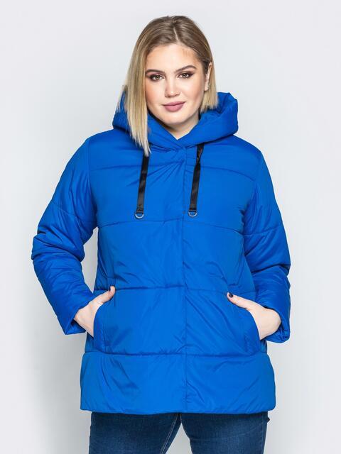 Синяя куртка со вшитым капюшоном и кулиской - 20217, фото 1 – интернет-магазин Dressa