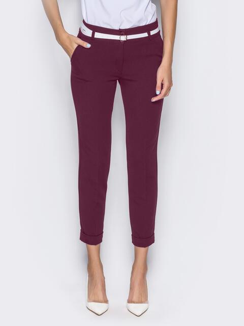 Укороченные брюки со шлёвками для пояса бордовые 22748, фото 1