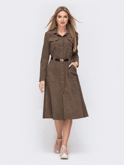 Вельветовое платье-рубашка коричневого цвета со шлевками 42610, фото 1
