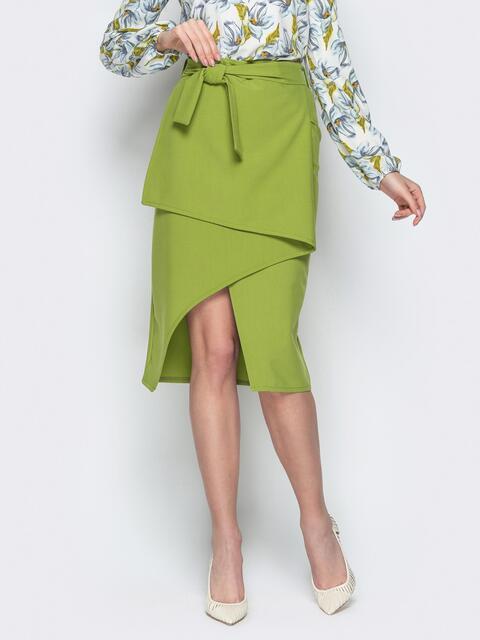 Асимметричная юбка-миди с поясом салатовая - 21164, фото 1 – интернет-магазин Dressa