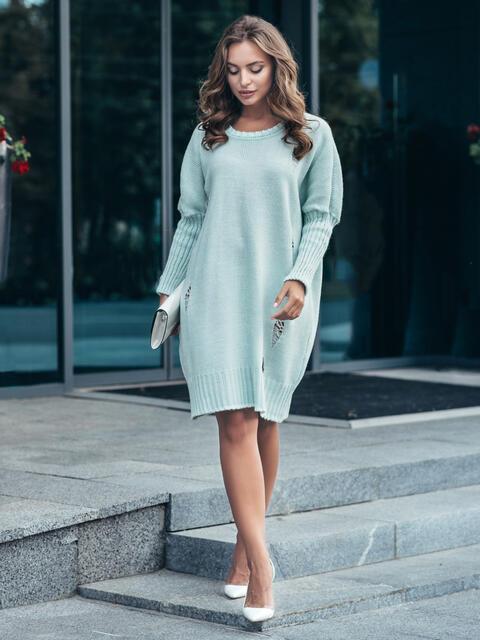 Бирюзовое вязаное платье с перфорацией и резинкой на рукавах - 17078, фото 1 – интернет-магазин Dressa