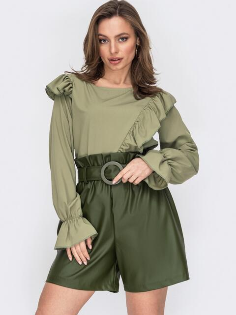 Блузка из софта с рюшами по полочке хаки 53298, фото 1