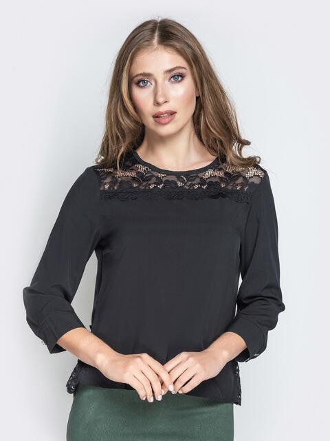 Чёрная блузка свободного кроя с гипюровыми вставками - 20782, фото 1 – интернет-магазин Dressa