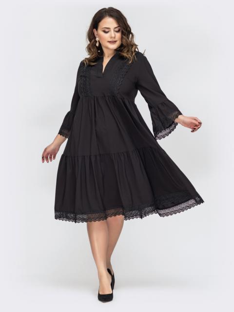 Чёрное платье большого размера кружевом по низу 44683, фото 1