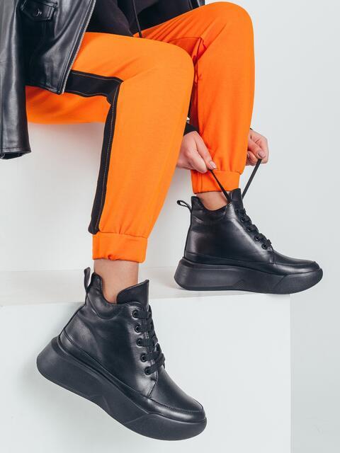 Демисезонные ботинки из натуральной кожи на подошве чёрные 50473, фото 1