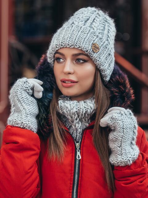 Комплект из шапки-бини с хомутом светло-серый 40406, фото 1