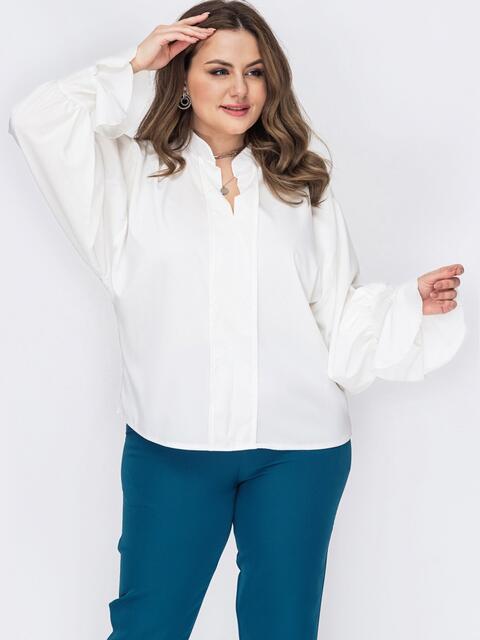 Молочная блузка батал с воротником-стойкой 53299, фото 1