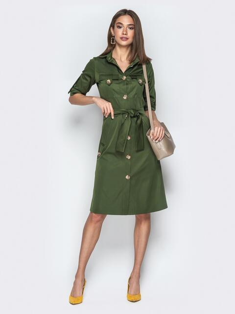 Платье-рубашка с крупными пуговицами и карманами хаки - 21159, фото 1 – интернет-магазин Dressa