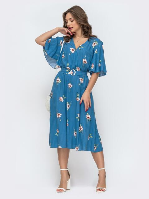 Приталенное платье с принтом голубое 46846, фото 1