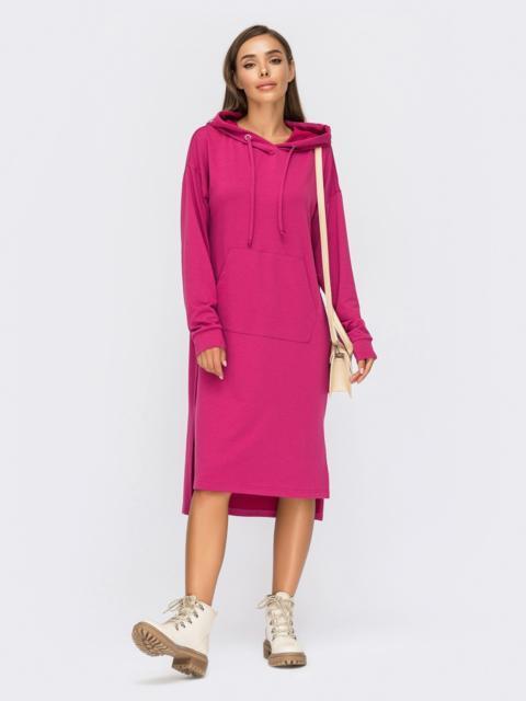 Розовое платье-худи с капюшоном и удлиненной спинкой 55094, фото 1