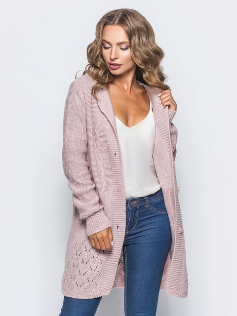 Розовый кардиган фактурной вязки - 15869, фото 1 – интернет-магазин Dressa