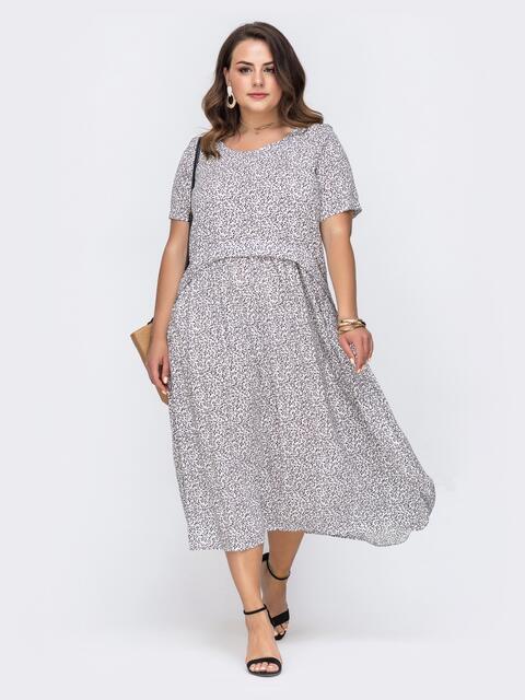 Свободное платье батал с цветочным принтом белое - 49664, фото 1 – интернет-магазин Dressa