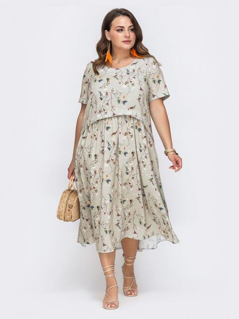Свободное платье батал с цветочным принтом серое - 49662, фото 1 – интернет-магазин Dressa
