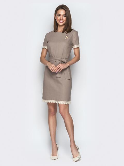 Свободное платье с кружевом по низу и поясом серое - 21161, фото 1 – интернет-магазин Dressa
