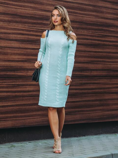 Вязаное платье с открытыми плечами бирюзовое - 13172, фото 1 – интернет-магазин Dressa