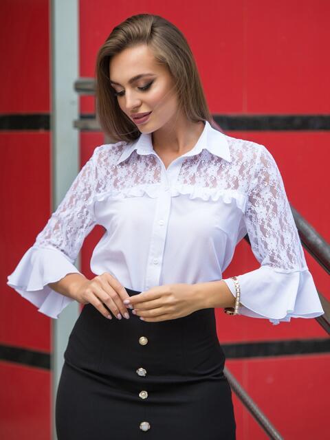 Блузка с кокеткой из гипюра и пуговицами на полочке - 14313, фото 2 – интернет-магазин Dressa