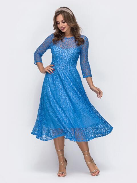 Гипюровое платье с нитью люрекса и расклешенной юбкой голубое 43033, фото 1