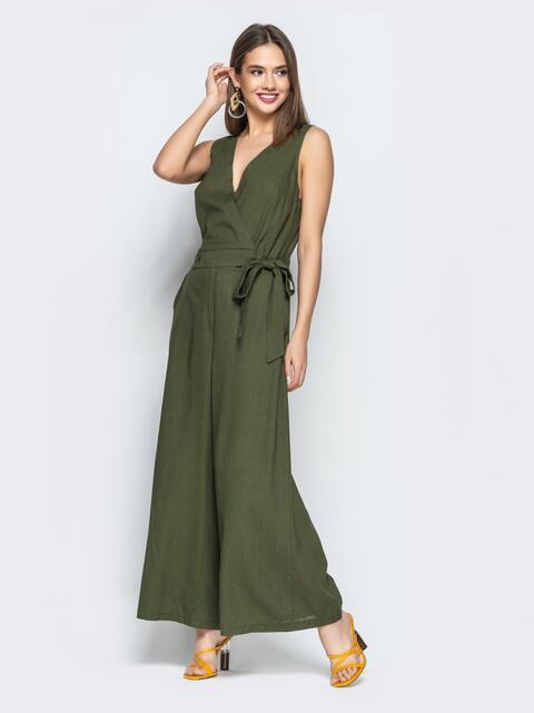 Комбинезон с лифом на запах и брюками-палаццо хаки - 22203, фото 1 – интернет-магазин Dressa