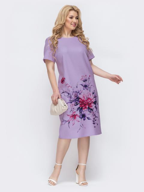 Платье-футболка большого размера с принтом фиолетовое 48900, фото 1
