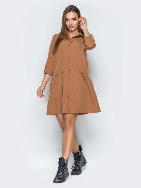 Платье-рубашка свободного кроя бежевого цвета - 19197, фото 1 – интернет-магазин Dressa