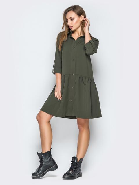 Платье-рубашка свободного кроя цвета хаки - 19198, фото 1 – интернет-магазин Dressa