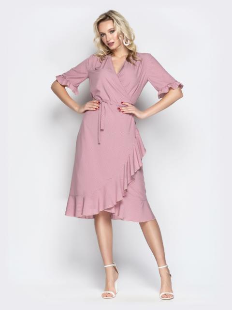 Платье в горох с запахом и оборкой по низу розовое 20616, фото 1