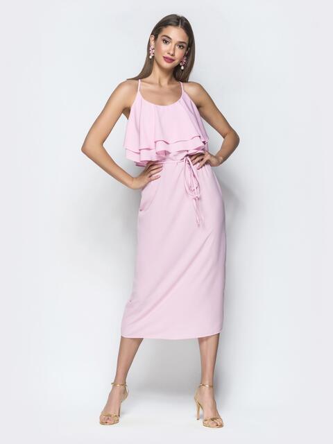 Розовое платье на бретелях с воланом по верху - 39389, фото 1 – интернет-магазин Dressa