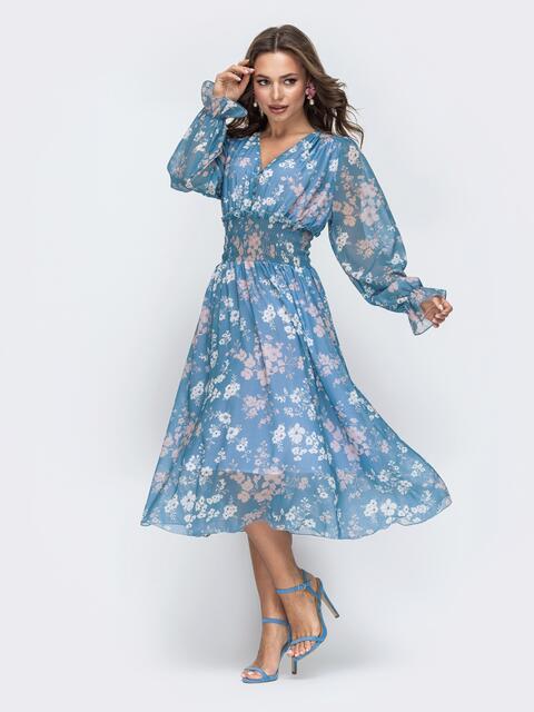 Шифоновое платье с широкой резинкой по талии голубое 45453, фото 1
