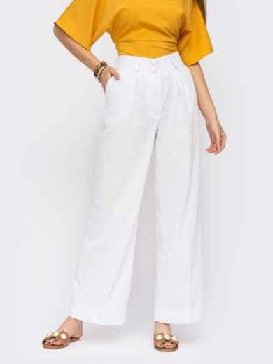 Белые льняные брюки с защипами по переду 53908, фото 1