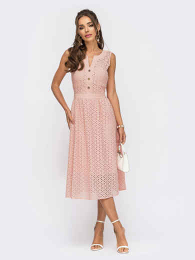 Расклешенное платье из прошвы с фигурным вырезом пудровое 54501, фото 1