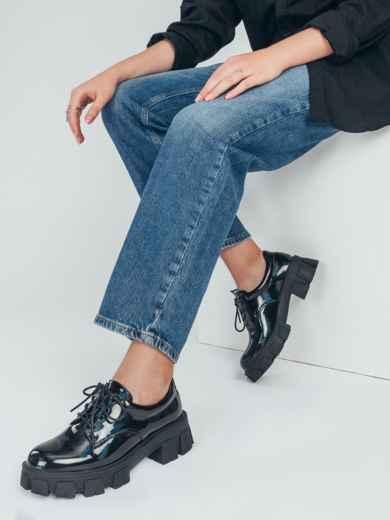 Лакированные туфли на массивной подошве чёрные 50693, фото 1