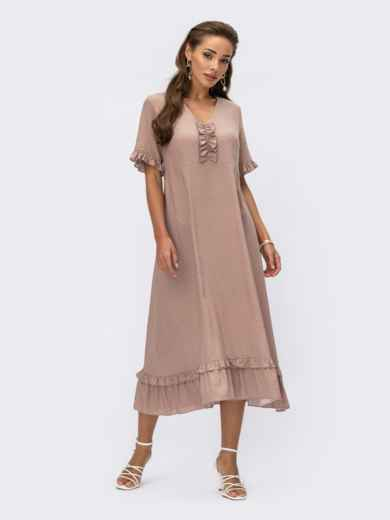 Бежевое платье из поплина в горошек с вырезом на спинке 54215, фото 1