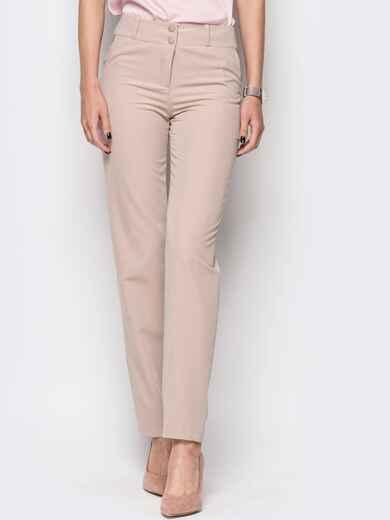 Бежевые брюки из костюмной ткани с карманами на полочке 12779, фото 1