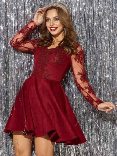 Бордовое платье с юбкой-полусолнце и кружевным верхом 42854, фото 2