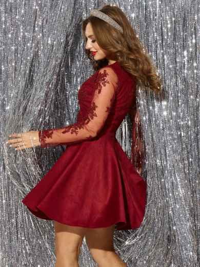 Бордовое платье с юбкой-полусолнце и кружевным верхом 42854, фото 4