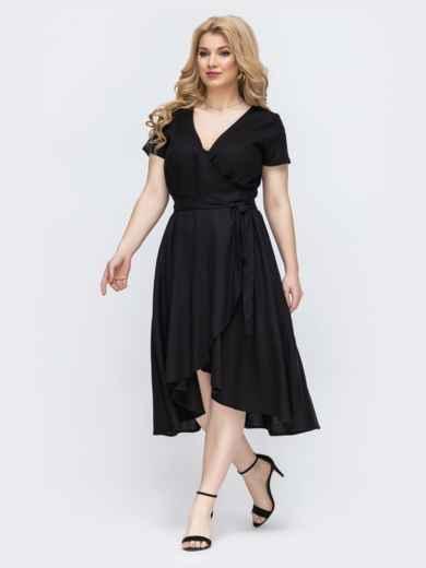 Чёрное платье на запах большого размера 46352, фото 2