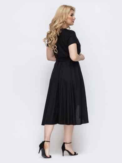 Чёрное платье на запах большого размера 46352, фото 3